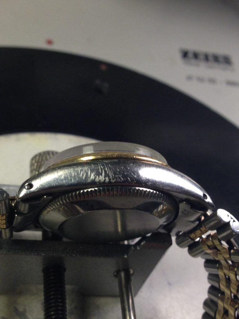 Restauro di casse e bracciali-Rolex datejust prima del restauro 1
