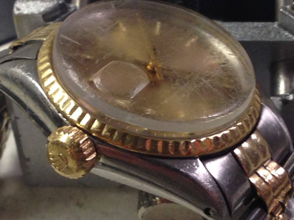 Restauro di casse e bracciali-Rolex datejust prima del restauro 2